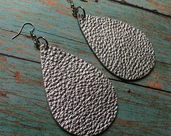 XLarge Teardrop leather earrings, silver metallic leather teardrop earrings, silver leather earrings