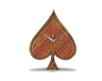 Modern Wooden Ace Of Spades Wall Clock