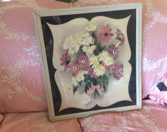 "Vintage Deco Watercolor Air Brush Painting, Bernard, 17"" x 19.5"", Framed Under Glass"
