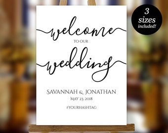 Wedding Welcome Sign Printable, Wedding Sign Template, Wedding Poster, Welcome to our wedding Sign, PDF Instant Download, Editable Sign