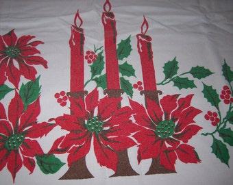 Vintage Christmas tablecloth candles plus