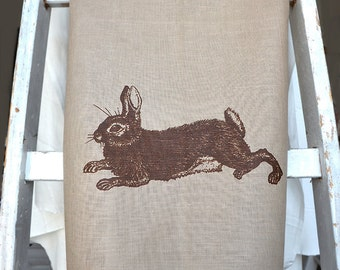 dischtowel with rabit, brown, linen, silk print