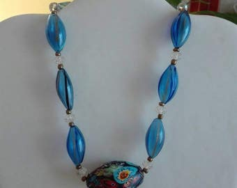 Vintage glass necklace, necklace and murrina glass necklace vintage glass blowing,