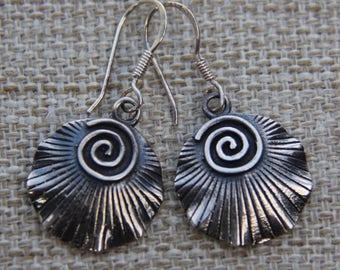 Oxidised Sterling Silver Spiral Seashell earrings