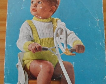 """Vintage knitting pattern by Lister for child's shorts suit.  Knitted in double knit for 23"""" chest."""