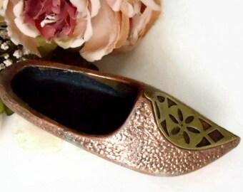 Brass Shoe Ashtray, Etched Brass Ashtray, Soviet, Vintage Brass Ashtray