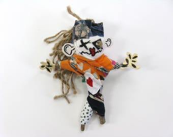 Mixed Media Voodoo Doll made from Found Objects, Pin Doll or Poppet, Naive Art Figure, Novelty or Gag Gift