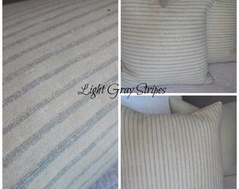 2 patterns: Stripes.Silver grey on Natural.Solid Grey. Home Decor.Rustic.Farmhouse.Shabby. Decor.HOme Decor Pillow cover. Slip covers