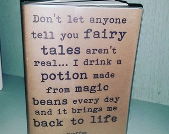 Recycled paper, Funny/Inspirational Quotes A5, 64 page journal/diary - Magic Beans Design