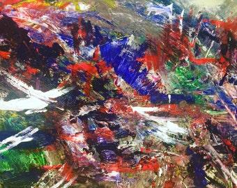 Original Mixed Media Abstract Painting 36 x 36  'She May Fall But Never Fail'