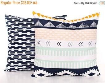 SALE ENDS SOON Navy Kilim Baby Pillows, Navy Blue Nursery Pillow Covers, Arrow Cushion Covers, Dorm Room Decor, Mint Green Toss Pillow, Set