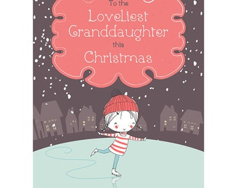 Granddaughter Christmas Card - Lovely Merry Xmas Blank Card CP3107