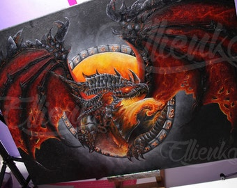 World of Warcraft Deathwing Oil painting on canvas, Hand-painted art