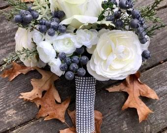 Rustic Winter Bridal Toss Bouquet