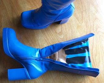 Platform Boots, Steve Madden, Blue Leather Boots, Mod Boots, Chunky Heel Boots, US Size 9 B Boots, Hand Painted Boots, Calf Length Boots