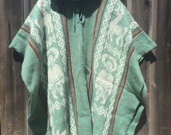 Mens Organic Sheep Wool Poncho
