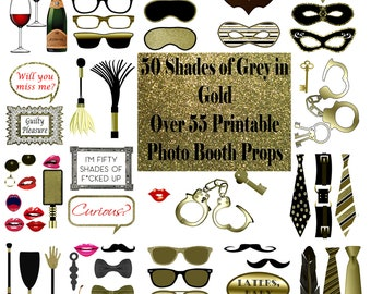 50 Shades of Grey Photo Booth Props Gold Set Glitter Printable Instant Download party game bdsm erotic bachelorette adult photo props sexy