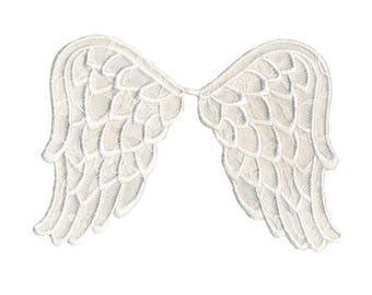 Iron On Applique White Angel Wings Simplicity 3.5 x 6 inches, Angelic Iron On Patch, Embroidered Patch (111082)