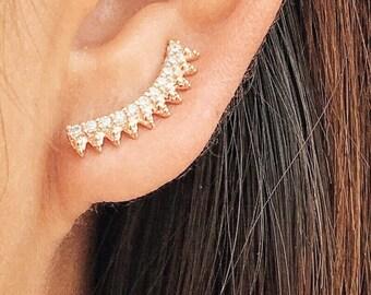 Jubilee ear climbers earrings   ear climbers   ear crawlers   ear pins   ear crawler earrings