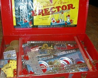 2 for 1 Erector sets by Gilbert 1950-1960's  and set by Gabriel 1980's  vintage toy hobby collectible  add collection decor red and blue
