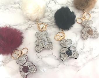 Adorable Bear Heart Cushion Bling Crystal Real Fur Pom Keychain