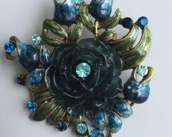 Charming Vintage full bloom blue rose brooch .