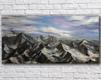Mountain Landscape Painting Extra Large Painting Heavy Texture Painting Large Art Painting Large Abstract Oil Painting Extra Large Wall art