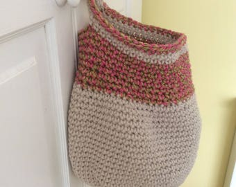 Crochet hanging storage basket