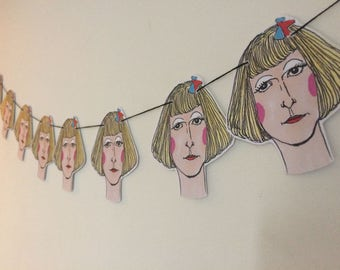 Grayson Perry paper bunting. Perfect gift for mothers day, birthdays or just to pop up on your own wall! Wall decor. Wall art. Illustration.