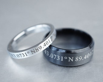 Custom Coordinate Rings For Couples, Matching Couple Rings, Latitude Longitude, Location Ring, Skinny Silver Ring-His and Her Rings Set of 2
