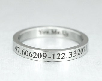 Long Distance Ring, Custom Coordinate Ring, Skinny Promise Ring, Engraved Ring, Latitude Longitude, Stainless Steel, GPS Coordinates Gift