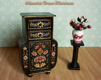 Dollhouse Furniture Cabinet 1:12 Scale, Dollhouse Miniature Fully Artisan,  Hand Painted Dollhouse