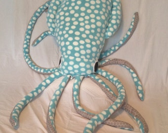 Giant squid pillow- blue spots