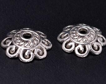 Bulk 100 Bead Caps Antique Silver Flower End Cap Charms Tibetan 8mm 10mm 12mm
