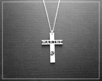 Marine Corps Necklace, Marine Corps Gifts, Premium Sterling Silver Marine Jewelry, US Marine Corps