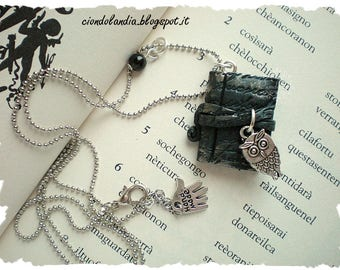 Ancient magic book with owl necklace (polymer clay)