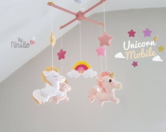 Unicorn Mobile - Baby Mobile - Girls Mobile - Hanging Mobile- Crib/Cot Mobile