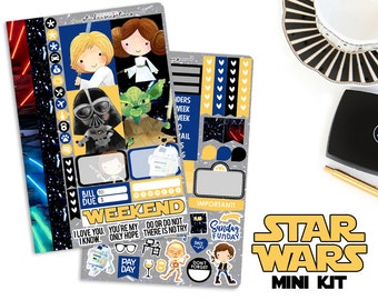 "Weekly Star Wars Planner Stickers ""STAR WARS"" Mini Kit (Erin Condren, Mambi, Happy Planner)"