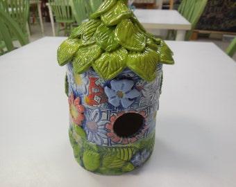 Hand Built Clay Tiki Birdhouse