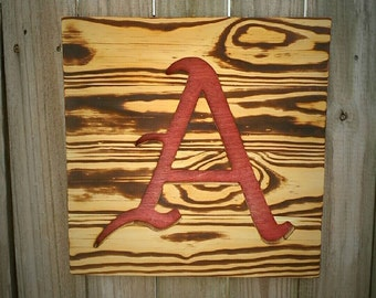 University of Arkansas Razorbacks Wood Burned Sign - Reclaimed Wood