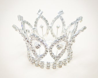 Rhinestone Mini Crown, Baby Crown, Baby Tiara, Mini Tiara, Tiny Crown Photo Prop, Princess Mini Crown, Baby Crown
