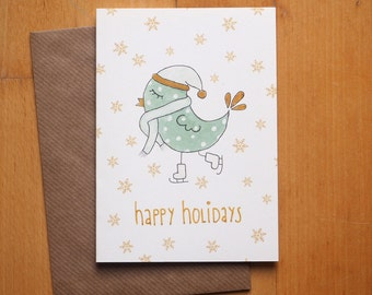 "Christmas card ""Bird"" / / signature: German or English / / Christmas greeting card with envelope"