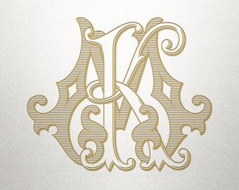 Classic Lettering Design - KM MK - Classic Lettering - Antique