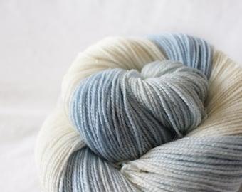 First Snow - Magpie -  75/20/5 superwash merino/ nylon/ gold stellina sock yarn