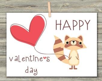 DIGITAL CARD Valentine's Day raccoon download card Greeting Card for Her  Card for Him card for friend heart