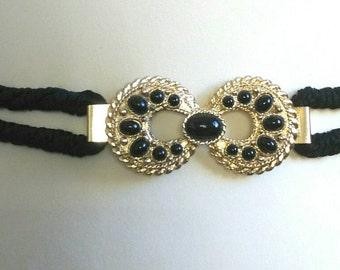 Black elastic belt and gold vintage metal