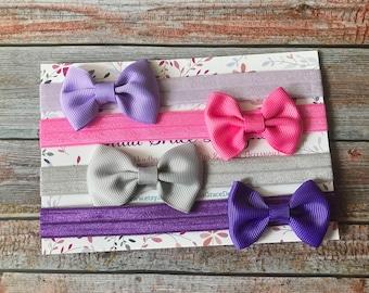 Baby Headbands, Bow Headbands, Baby Girl Headbands, Hair Bow Headbands, Toddler Headband, Grosgrain Bow, Bow Headband Set, Baby Headband Set