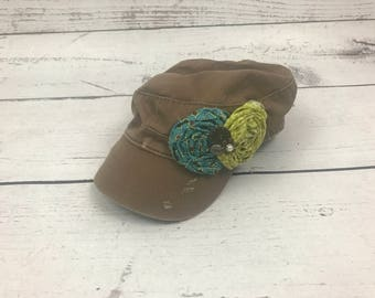 Brown Military/ Cadet Style Hat
