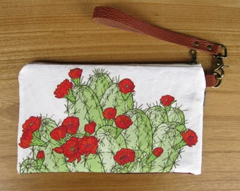 Hedgehog Cactus Fabric Clutch - Zipper Pouch, Brown Leather Detachable Strap. Bridesmaid Gift, Gift for Her. Claret Cup Succulent Southwest