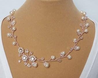 Rose Gold Wedding Necklace, Rose Gold Wedding Jewelry, Rose Gold Bridal Necklace, Bridal Jewelry Rose Gold, Rose Gold Pearl Bridal Necklace